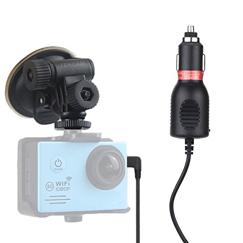 TEKCAM 2in1 Car Charger Mount Suction Cup Bracket Compatible with Waterproof Action Sport Camera (Not fit Gopro)