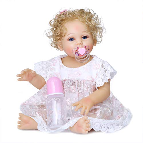 Angelbaby Cute Realistic 19 inch Reborn Baby Dolls Girls Silicone Full Body Blonde Hair Blue Eyes Bebe Real Life Reborn Dolls with Clothes for Ages 3+