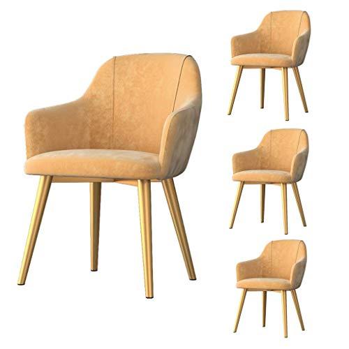 Juego de 4 sillas de Comedor Modernas para Cocina, Cojines Suaves tapizados de Terciopelo, Patas de Metal Dorado, para Sala de Estar en casa