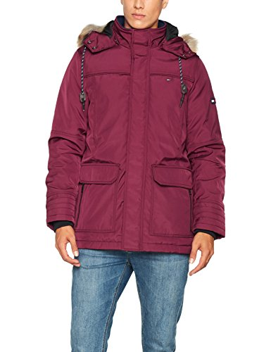 Tommy Jeans Herren Tech Parka Lang - Regulär Parka Jacke Rot (Windsor Wine 674) X-Large