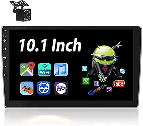 Android Radio de Coche Bluetooth con Pantalla Táctil HD de 10.1'',Reproductor MP5 Compatible con Manos Libres,WiFi,Enlace Espejo,USB Dual,SWC,Autoradio con Navegación y Cámara de Visión Traser