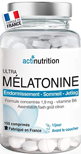 Mélatonine 1,9mg - 150 nuits : Régulateur de l'horloge biologique | Pulsions de grignotage | Fabriqué en France | Vitamine du rêve | Endormissement serein | Réveil lucide