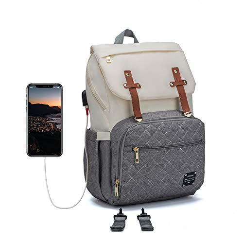 Diaper Bag Backpack, LEQUEEN Waterproof Stylish Multifunction Large Capacity Travel Back Pack Maternity Baby Nappy Changing Bags with USB Charging Port