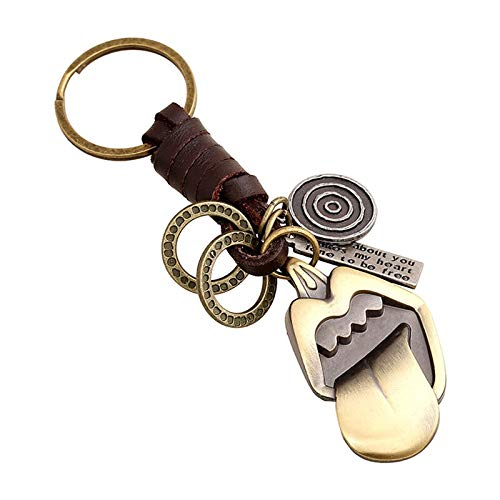 XMCF Key Ring Big Tongue Keychain Handbags Pendant Handmade Genuine Leather Key Chains Key Ring Jewelry for Women Men Gifts (Color : 20043)