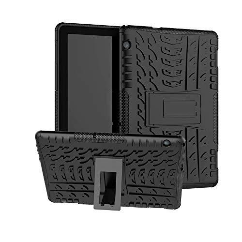 Xitoda - Cover per Huawei MediaPad T5 10, Hybrid Rugged Armor Dur Back per Huawei T5 10 10.1 pollici 2018 Stand Case con Kickstand, colore: Nero