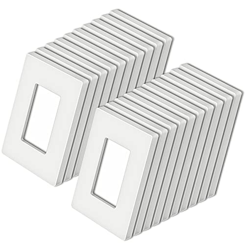 """[20 Pack] BESTTEN 1-Gang Screwless Wall Plate, USWP4 White Series, Decorator Outlet Cover, H4.69"""" x W2.91"""", for Light Switch, Dimmer, USB, GFCI, Receptacle"""