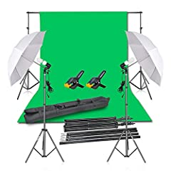 This kit includes: (1)x Backdrop Stand Support System丨(1)x 6 x 9 ft Muslin Pure Cotton Green Screen Chromakey Backdrop Background丨(2)x 4.5 inch Heavy Duty Spring Backdrop Clamps丨(2)x 7 ft Photography Light Stand丨(2)x Lamp Holder丨(2)x White Umbrella丨(...