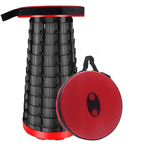 Kamaw Tragbarer ausziehbarer Hocker, Camping-Klapphocker, tragbarer Teleskophocker, zusammenklappbar, verstellbar rot