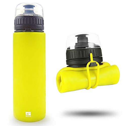 SHOKE Collapsible Water Bottle Squeeze Soft Silicone Foldable with Leak Proof for Outdoor Traveling BPA Free -19 ounce