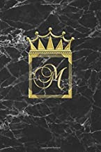 M: Personalised Journal Notepad (Blank Lined) Diary / Letter Notebook / Initial Diary For Girls / M Monogram / Can Be Useful For Writing Notes Ideas ... And Gold Marble Design / Letter With Crown