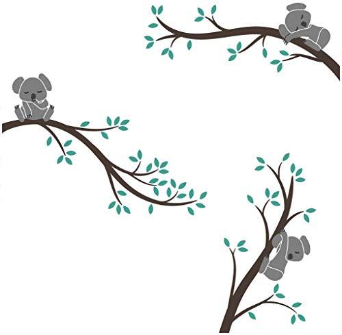 Bdecoll Koala Baum Wandtattoo,Großer Baum Cartoon Tiere Koala Wandsticker, Babyzimmer Kinderzimmer Entfernbare Wandtattoos Wandbilder (Grün)