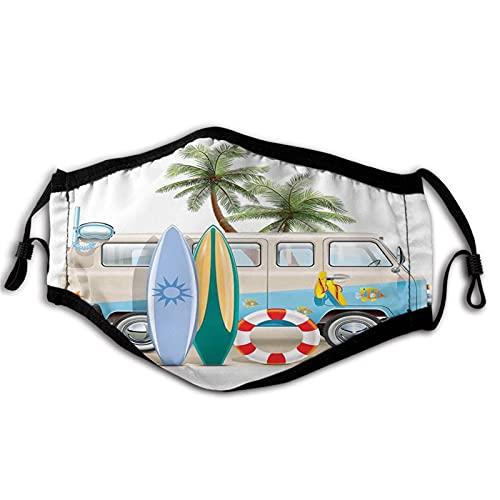 Surf, concepto de fin de semana de surf con elementos de buceo, aletas de buceo y viaje de furgoneta relajar la paz, máscara de boca multicolor anti transpirable absorbe el sudor máscaras para adultos