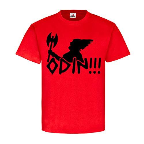 Odin Wikinger Schlachtruf Axt Krieger Kämpfer Nordmann Heide Gott Asen Hemd T-Shirt #18863, Größe:XXL, Farbe:Rot