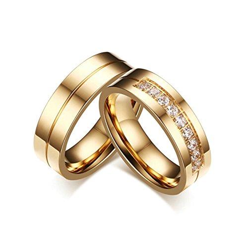 Beydodo 1 PCS Damen Ring Edelstahl Verlobungsringe Hochglanzpoliert mit Zirkonia Breite 6MM Freundschaft Paarringe Trauring Gold Größe 57 (18.1)