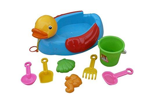 Kinder-Spielzeug B46/00 8tlg. Set, Ente für Sand-Kasten, Pool u. Strand, Garten-Spielzeuge Sommer Schaufel Förmchen Rechen Geschenk-Idee Geburtstag-e