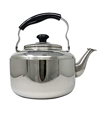 Tea Kettle with Cool Touch Handle, Stainless Steel Teapot for ALL Stovetops - Gas, Induction, Electric, Ceramic - 5 Liter / 1.3 Gallon Teapot