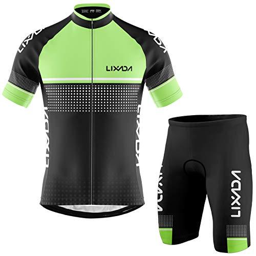Lixada Maglia da Ciclismo da Uomo Traspirante Set Completo da Ciclismo Asciugatura Veloce Manica Corta e Pantaloncini con Cuscino Imbottito in Schiuma Abbigliamento MTB, S-2XL