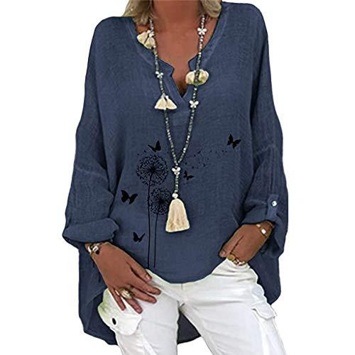 WANGTIANXUE Camiseta de manga larga para mujer, diseño de diente de león, estampado de mariposas, cuello en V, camiseta de blusa, camiseta de manga larga, de algodón y lino, marine, M