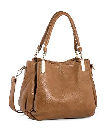 Sofunny Taschen für Damen Handtasche PU Leder DieMode Damenhandtasche Umhängetaschen Shopper groß Kamel 32 * 15 * 20 cm (B* T * H)