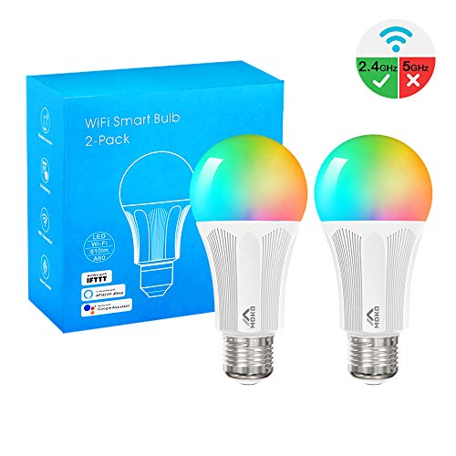 MoKo Smart WLAN Led Lampe, E27 9W Dimmbar Glühbirne Mehrfarbige RGB Licht, Wifi Birne mit APP Fernbedienung Sprachsteuerung, Kompatibel mit Alexa Echo Google Home SmartThings, ohne Hub Benötig, 2 Pack