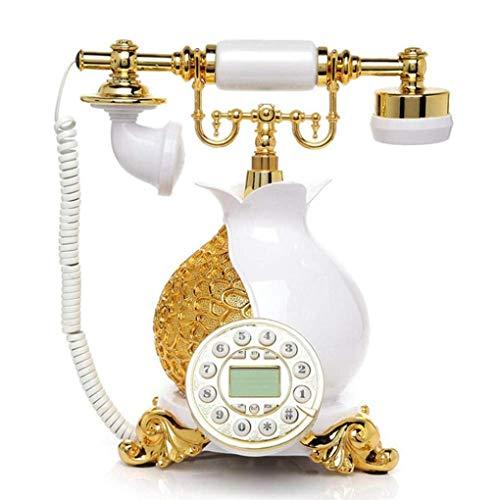FTFTO Equipo de Vida Resina Blanca y Dorada Teléfono Fijo Antiguo Oficina en casa Florero en Forma de teléfono con Cable Año Mes y día Reloj Pantalla Blanco