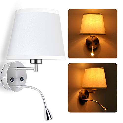 BarcelonaLED Lampara Aplique de pared LED para lectura 6W con foco flexo 3W blanco calido orientable y base de carga USB para Dormitorio Cama Cabecero