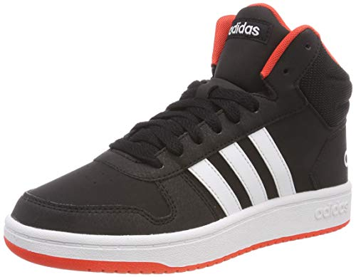 adidas Unisex-Kinder Hoops 2.0 Mid Basketballschuhe, Schwarz (Core Black/FTWR White/Hi/Res Red S18 Core Black/FTWR White/Hi/Res Red S18), 35 EU