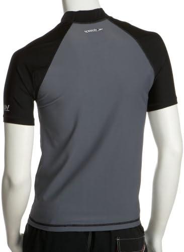 Speedo Men's UPF 50+ Solid Colorblock Slim Fit Short Sleeve Rashguard Swim Tee