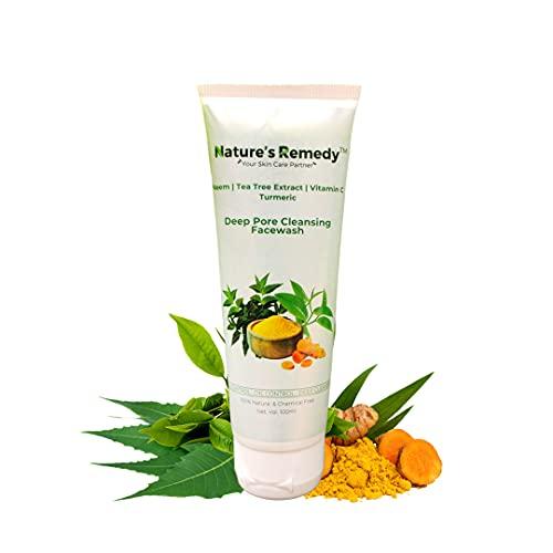 Nature's Remedy Tea Tree Face Wash   Removes Acnes & Pimples   Neem   Turmeric   Vitamin C   100% Ayurvedic & Organic SkinCare   100 ML