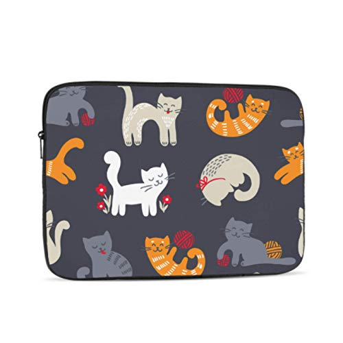 Macbook 15 Cover Cute Cat Knitting Yarn Ball Macbook 2017 Case Multi-Color & Size Choices10/12/13/15/17 Inch Computer Tablet Briefcase Carrying Bag