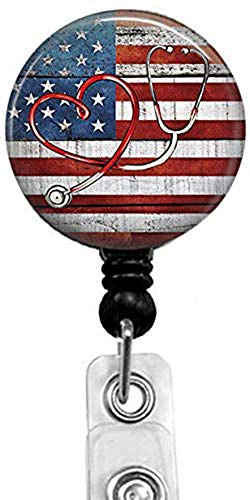 Stethoscope and American Flag Badge Reel,Retractable Name Card Badge Holder with Alligator Clip, Medical MD RN Nurse Badge ID, Badge Holder