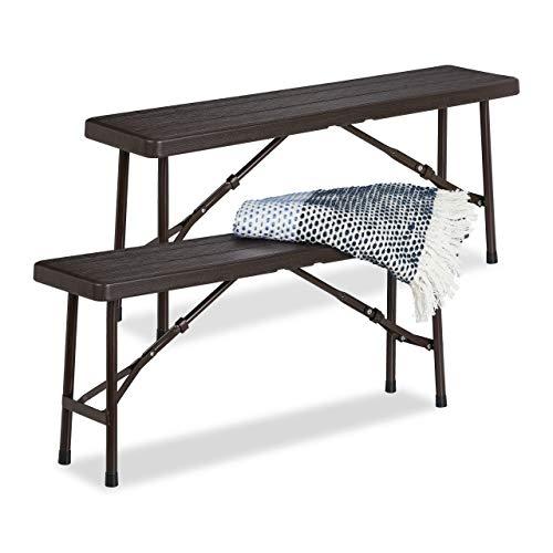 Relaxdays Bierbank 2er Set, faltbar, für Terrasse & Garten, Holzoptik, Kunststoff Campingbank HBT: 42x100x25 cm, braun