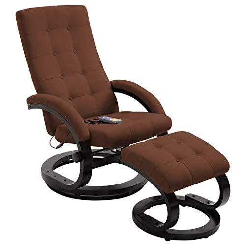 UnfadeMemory Massagesessel mit Fußhocker Massagestuhl mit Heizfunktion Ruhesessel Liegesessel Wohnzimmer Entspannungssessel Stoff in Veloursleder-Optik (Braun)