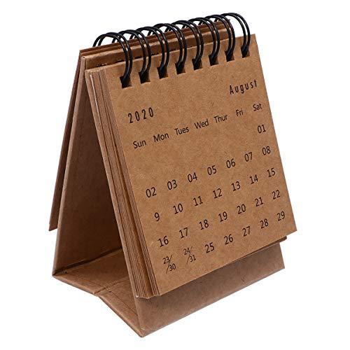 Tomaibaby Calendario de Escritorio 2021 - Mini Calendario Abatible de Pie 2020-2021 Calendario de Pared para Planificar La Organización Del Planificador Diario Comienza - Marrón