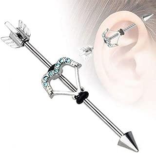 Surgical Steel Gem Turquoise Opal Industrial Ear Piercing Barbell Bar Earring   Patterns - Cupids Arrow + Gem