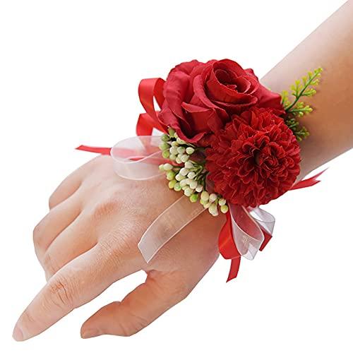 Afrsmw Pulsera Flores Dama de Honor Novia Pulsera Flores Boda eructar