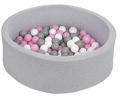 Velinda Bällebad Ballpool Kugelbad Bällchenbad Bällchenpool Kinder Pool mit 150 Bällen (Farbe der Bälle: weiß,rosa,grau)