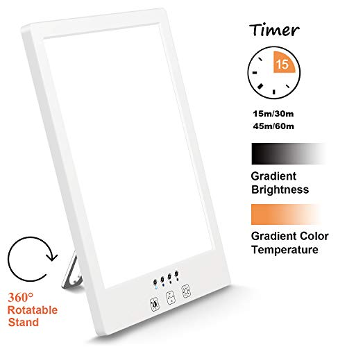 Best Review Of Comenzar Sun Lamp LED White Warm Lamp UV Free 2000-12000 Lux Gradient Brightness Time...