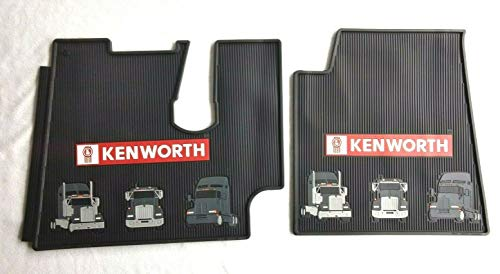Kenworth T600 660 800 W900 OEM Black Rubber Floor Mats with Truck Logo Fits 2005 to 2020