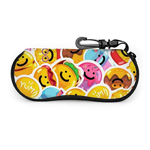 Naadloos patroon Emoji Fast Food Glimlach Bril Case Spectacle Case Box Draagbare Eyeglass Case Draagbare Bril Case Met Sleutelslot
