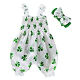 Infant Baby Girl St. Patrick's Day Romper Jumpsuit Sleeveless Bubble Playsuit with Headband Summer Clothes Clover Sunsuit (White Green, 12-24 Months)