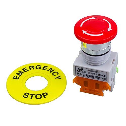REFURBISHHOUSE Rosso fungo Cap 1NO 1NC ferma emergenza Pulsante interruttore DPST AC 660V 10A