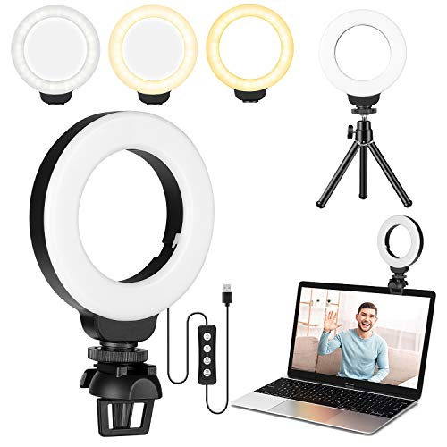 FDKOBE 4'' Small Ring Light for Laptop/Computer, Zoom Call Lighting with Clip and Tripod, Video Conference Lighting, Webcam Light with 3 Light Modes & 10 Brightness Levels, Selfie, Makeup