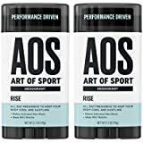 Art of Sport Men's Deodorant Clear Stick (2-Pack), Rise Scent, Aluminum Free, Made with Matcha, 2.7oz