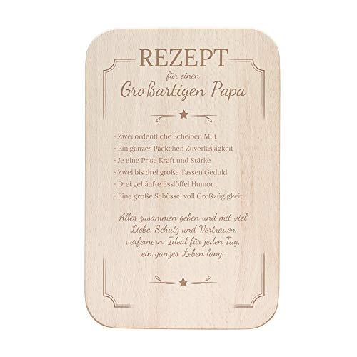 Casa Vivente Frühstücksbrettchen mit Gravur als Geschenk für Papa, Schneidebrett aus hellem Holz, Vatertagsgeschenk, Maße: 23 x 15 cm