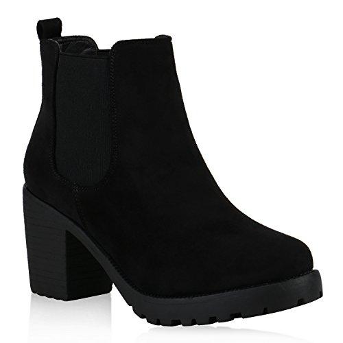 Damen Schuhe Stiefeletten Chelsea Boots Plateau Profilsohle 146031 Schwarz Velours Carlet 38 Flandell