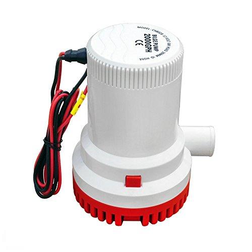 ECO-WORTHY Pompa sommergibile di sentina marina 2000 GPH 12V 29mm ID tubo silenzioso completo sommergibile