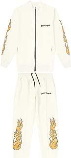 Fashion Palm Angel Flame Print Casual Couple Cotton Jacket Sweatpants Set for Men/Women