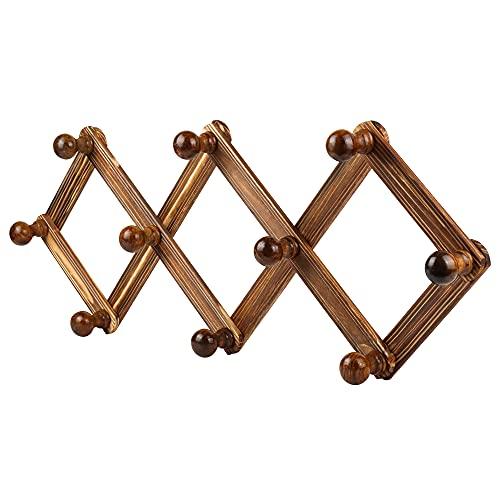 Fenlens Appendiabiti da parete in legno espandibile attaccapanni da muro a fisarmonica con 10 ganci per appendere vestiti cappelli borse asciugamani, colore noce rustico