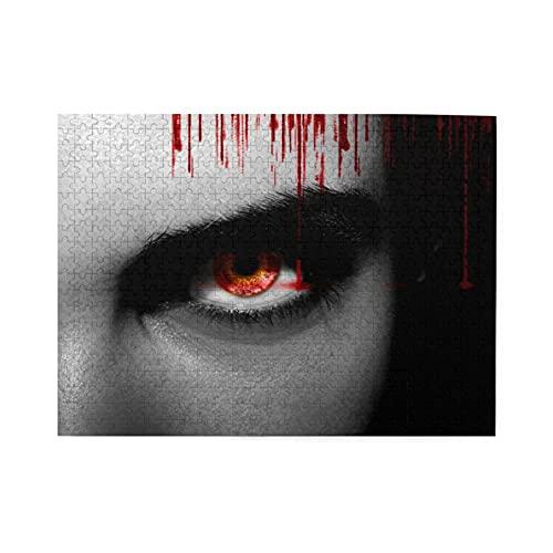 Puzzle de 500 piezas,vampiro alienígena negro malvado o ojos de zombi en primer plano,juego de rompecabezas familiar grande,ilustraciones para adultos y adolescentes